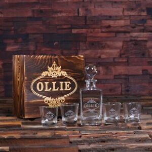 Personalised Monogram Whisky Decanter Set w/ Whisky Glasses and Wooden Gift Box