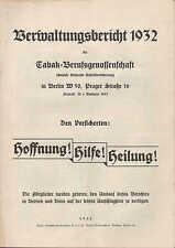 BERLIN Verwaltungs-Bericht 1932, Tabak-Berufs-Genossenschaft Unfall-Versicherung