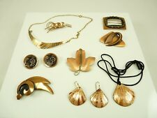 Nice Mixed Lot of Vintage Copper Jewelry Brooches Necklace Earrings