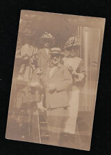 Old Antique Vintage Photograph Man With Three Women Wearing Crazy Hats