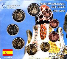 manueduc   ESPAÑA  2014  BLISTER  OFICIAL FNMT  9  Coins  PARK GUELL   NUEVO