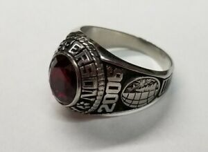 2006 Jostens LTM Class Ring Silver Type Red Stone