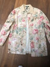 LAUREN by RALPH LAUREN Tan Floral LINEN Unlined Empire Collar Shirt JACKET sz m