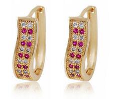 Elegant 18 k Gold Plated with White & Pink Zircons Earrings for Women Hoops E708