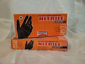 Guanti Nitrile Arexons TG M colore Nero con polvere ambidestri set di 3 scatole