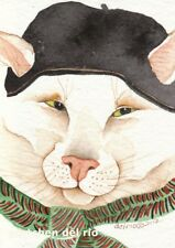 "ACEO Giclee PRINT watercolor 2.5"" x 3.5"" whimsical white cat 'MAXINE'S BERET'"
