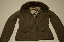 NEW ABERCROMBIE & FITCH ARMY GRAY FAUX FUR LINED JACKET COAT WOMEN M