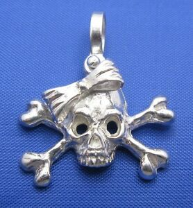 Pirate Girl Skull With Bow and Crossbones Sterling Silver Pendant / Charm Ladies