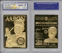 1996 Baseball HANK AARON * 755 Home Run King * 23K GOLD CARD Graded 10