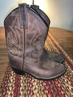 Masterson Youth Kid's Sz 12.5 Brown Stitch LEATHER Cowboy Western Boots