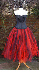 black red tutu skirt 10 goth wedding gypsy petticoat quirky prom tulle adult SML