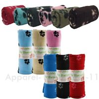 SOFT FLEECE PAW PRINT PET BLANKET DOG PUPPY WARM CAT BED CAR BULK LOT ( M - XL)