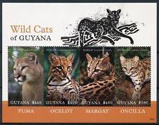 Guyana 2018 MNH Wild Cats Ocelot Puma Oncilla Margay 4v M/S I Animals Stamps