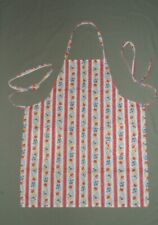 New listing Handmade Chef's Apron Red Stripe & Floral Vintage Fabric Never Worn 2 Pockets