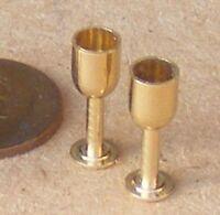 1:12 Scale Set Of 2 Brass Wine Goblets Dolls House Miniature Pub Bar Accessory D