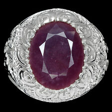 GORGEOUS OVAL CUT 14x12mm TOP BLOOD RED RUBY STERLING 925 SILVER MEN'S RING SZ10