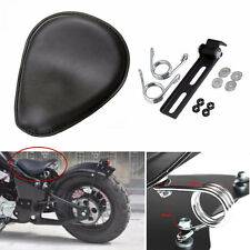 "Leather Motorcycle 3"" Spring Solo Bracket Seat For Harley Chopper Bobber Custom"