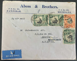 1937 Mombasa Kenya airmail Commercial Abass & brothers Cover To Zanzibar