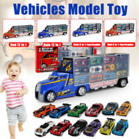 Big Carrier Container Truck Lorry Mini Racing Car Vehicle Kid Model Toy Set Gift