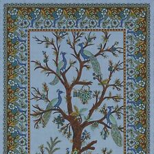 Unique Handmade 100% Cotton Tree of Life Peacock Tapestry Tablecloth Blue 85x60