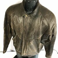 Vtg John Ashford Men DISTRESSED Leather BOMBER Jacket Motorcycle BIKER Coat L