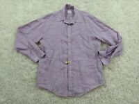 Brooks Brothers 100% Linen Button Up Shirt Mens Medium Purple Relaxed Casual
