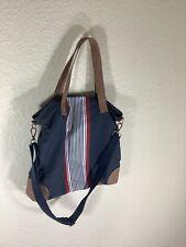 Merona Crossbody, Shouder Tote Bag Navy Blue Fabric Faux Leather Trim