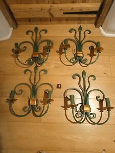 4 Green& Gold vintage Metal Wall Sconces Electric 18 in x 14in small bayonet cap