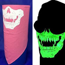 AMERICAN MADE SKULL FACE NECK SCARF MASK HEAD WRAP PINK LADY BIKER CHICK BANDANA