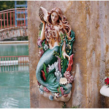 "Melody's Cove Mermaid Hand Painted Design Toscano 29"" High Wall Sculpture"