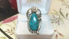 VINTAGE MASSIVE NAVAJO CHINA MOUNTAIN TURQUOISE STERLING SILVER FLOWER RING 8.25