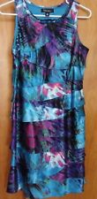 Women's SL FASHIONS Multi-Color Ruffled A-Line Dress Size 10 Side Zip