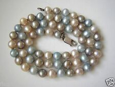 Perlenkette mit Kugeln und 925 Silber Verschluß Kette Perle Weiß/Grau/Blau 21,7g