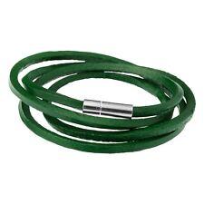 Men's Green Leather Cord Style Wrap Bracelet