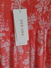 M&S PER UNA CORAL MIX PURE COTTON FLORAL TIERED MAXI  DRESS SIZE UK 14 BNWT