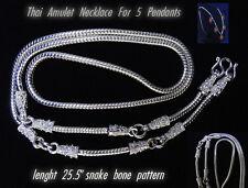 5 Hooks Pillar Snake Bone Silver Plated Necklace Phra Thai Buddha Amulet Hanging