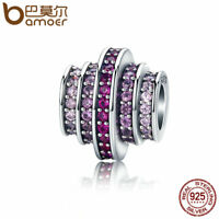 BAMOER Solid S925 Sterling silver Charm Red melody With CZ Fit Women bracelets