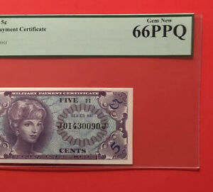 641 SERIES 5C MILITARY PAYMENT CERTIFICATE(1st PRINT),PCGS GRADED,GEM MEW 66 PPQ