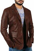 Classic Men's Lambskin Leather Blazer Distressed Brown Two Button Jacket Coat