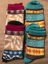 Southwestern Indian Tribal Turquoise Multi Colored With Feathers Socks