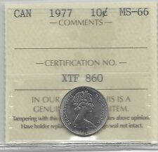 **1977**, ICCS Graded Canadian,  10  Cent, **MS-66**