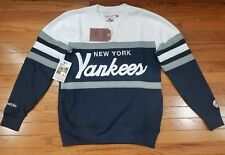 New York Yankee Mitchell & Ness MLB Men's Head Coach Crew Sweatshirt Navy /White