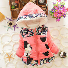Kids Baby Girls Disney Minnie Mouse Hooded Jacket Coat Zip Winter Warm Snowsuit
