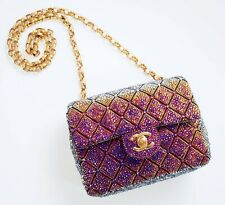 Chanel Custom Strass Swarovski Crystal Volcano Classic Flap Bag with Gold Chain