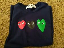 Mens Comme Des Garcons PLAY Tee Triple Hearts T-shirt Navy Size M