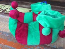 BNWT Christmas Elf Children's Boys Slippers Boots Size 8-9 Fancy Dress Red Green
