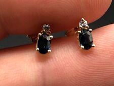 Simple Womens 14K Yellow Gold Blue Sapphire & Diamond Earrings