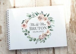 Personalised Wedding Guest Book Wooden Guest Book Roses White