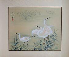 Vintage Wild Crane Portrait, Oriental Asian Watercolor Painting on Silk Paper