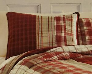 "New Nautica Walnut Creek Quilted Plaid Brown Red Standard Pillow Sham 20"" x 26"""